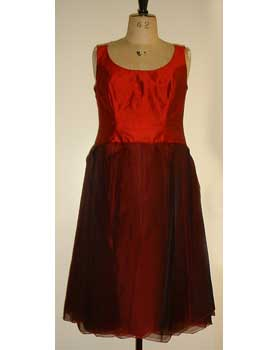 Red Dupion and Organza Dress