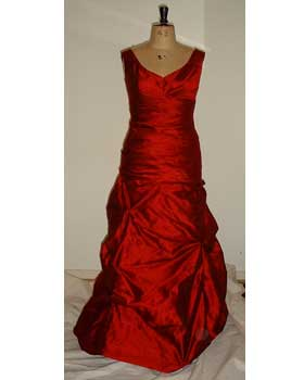 Red Dupion Draped Gown