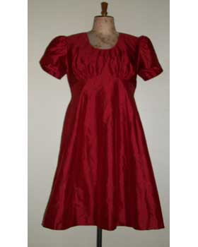 Red Silk Empire Waist A Line Dress