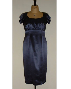 Blue Satin Shift Dress