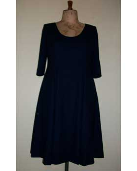 Navy Wool Crepe Empire Waist Dress