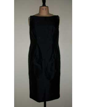 Black Silk Sleeveless Shift Dress