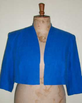 Blue Linen Cropped Jacket