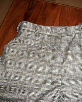 Wool and Cashmere Check Trousers