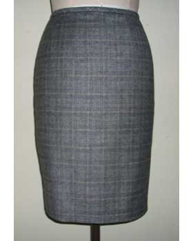Wool and Cashmere Check Skirt