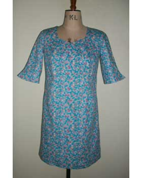 Light Blue Floral Cotton Poplin Dress