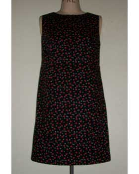 Black Apple Print Cotton Sleeveless Shift