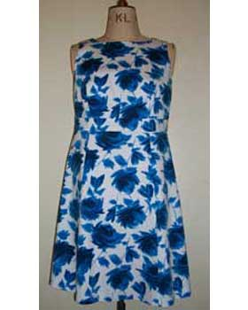 Sleeveless A line Dress in Stretch Floral Fabric
